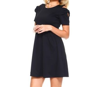 Dresses & Skirts - Black Cold Shoulder Bow Embellished Skater Dress